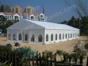 the 15x30m tent with clear windows around