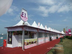 pagoda tent booths in Hongkong red wine festival