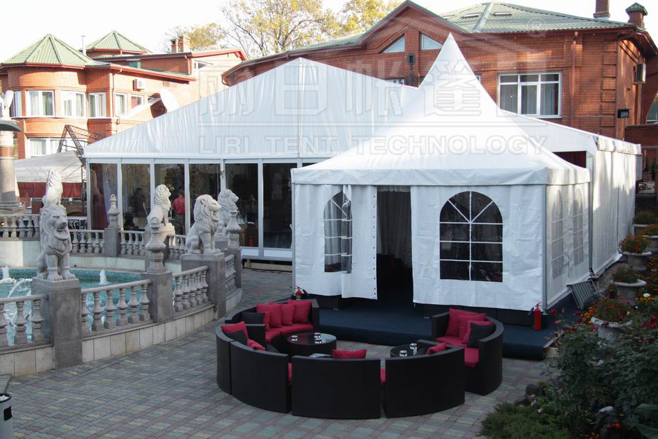 5x5m pagoda tent with clear windows