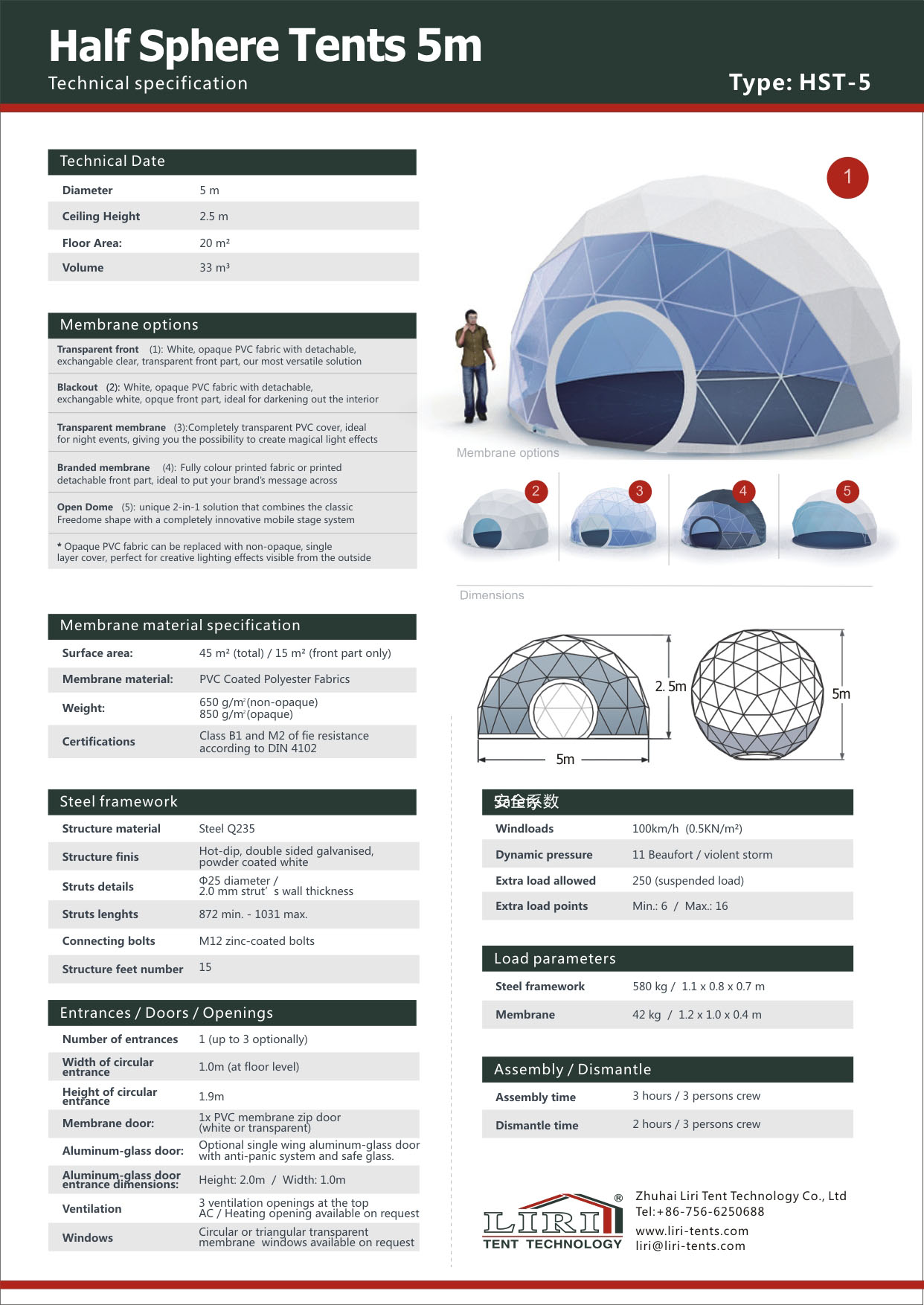 Technical Data for 5m half sphere tent