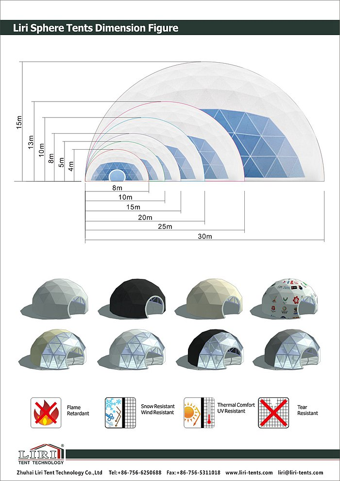 Geodesic Dome Half Sphere Tent with Special Structure