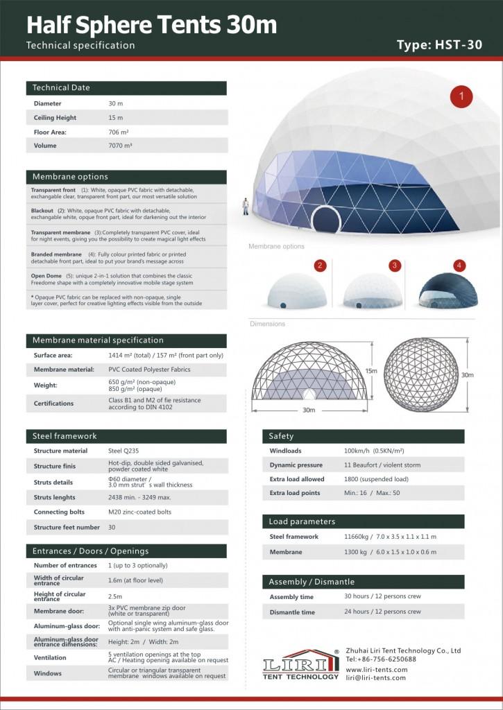 30米球形篷房技术参数(英文)