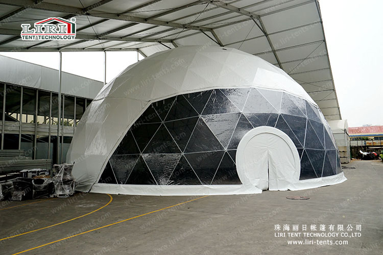 20m diameter geodesic tent with clear PVC
