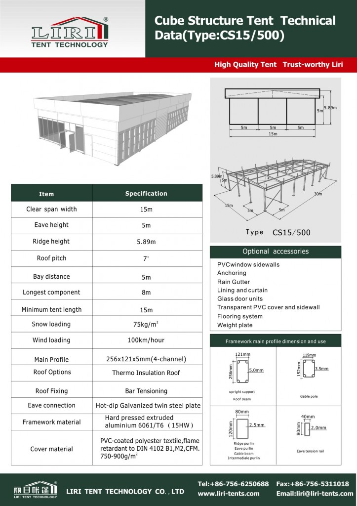 Technical Data of Special Design Cube Structure Tent 15*15m