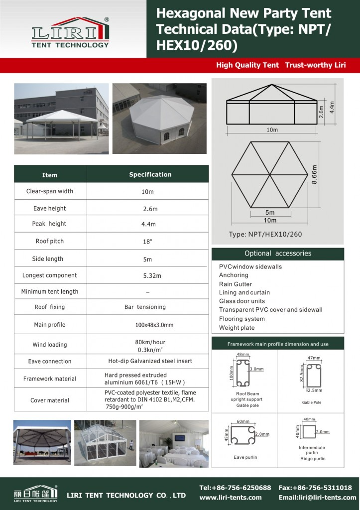 Technical Data of Polygon Tent