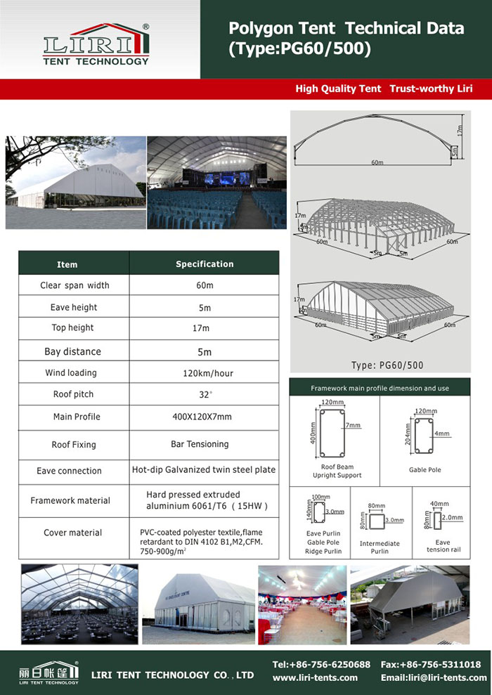 technical data of big tent
