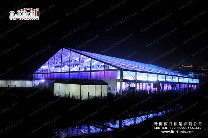 transparent 50m clear span tent at night (3)