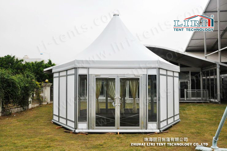 12m width polygon top tent with glass walls and doors