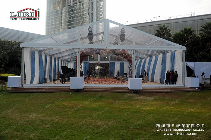 5 by 25m clear tent for outdoor events