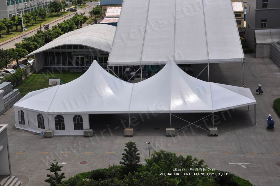 mixed party tent 12x32m with double high peaks (1)