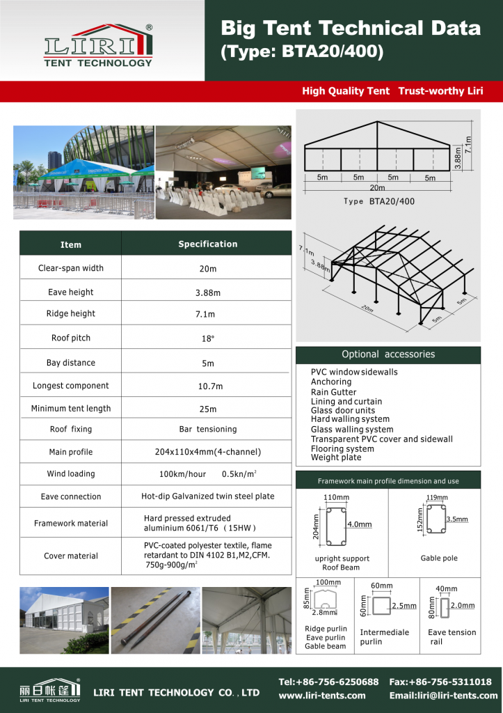 Techinical data of 20 by 50m event tent for exhibition
