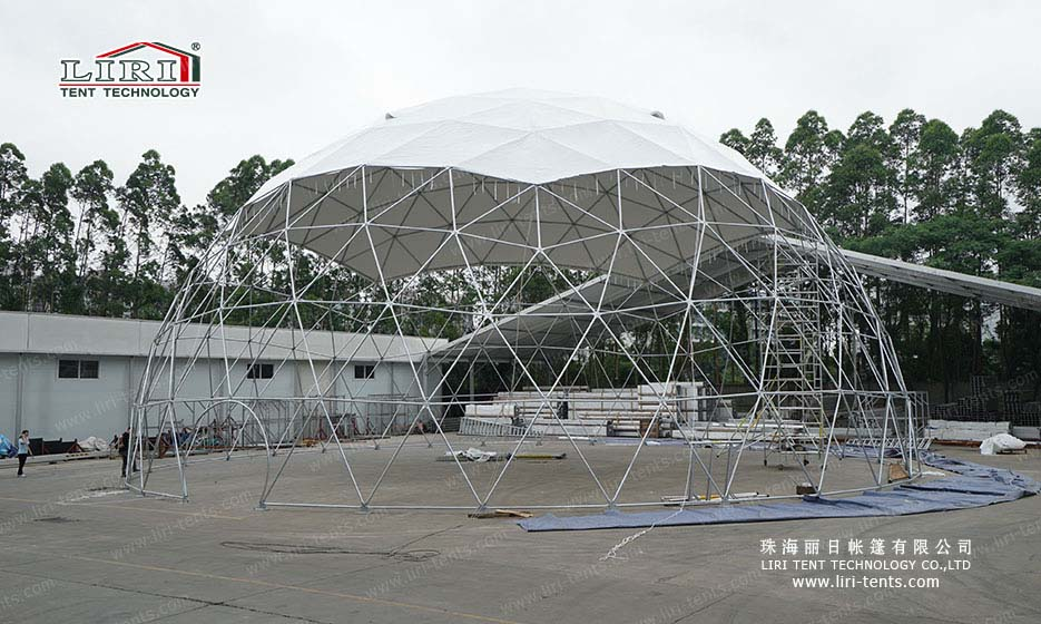 Economical 25m half sphere tent with PVC door