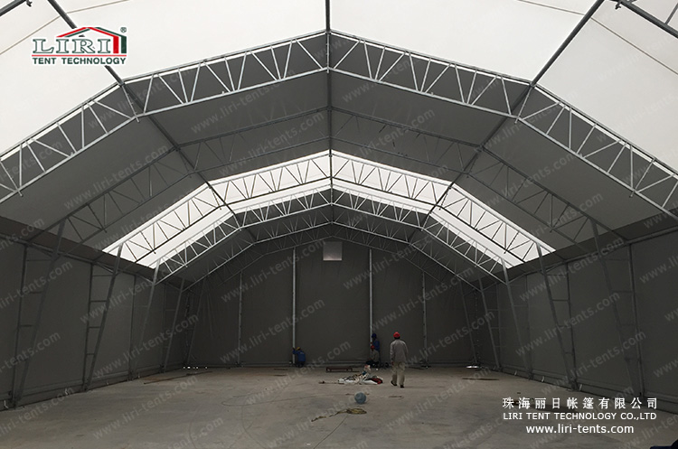 Steel structure polygon tent for warehouse with silver cover